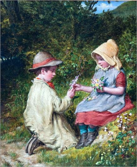 gathering-wild-flowers-William Bromley (1818 – 1888, English)