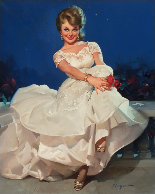 GIL ELVGREN (American, 1914-1980)-moonlight and roses (miss Sinclair 1965)
