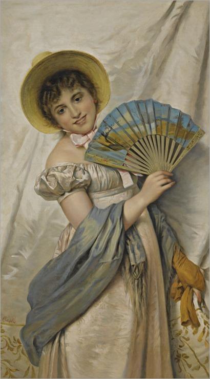 Giovanni Costa (italian, 1833-1893)-HER NEW FAN