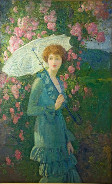 Helen in Her Garden - George Laurence Nelson (american painter)