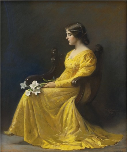 James Wells Champney (1843-1903) Woman seated holding lilies. 1902