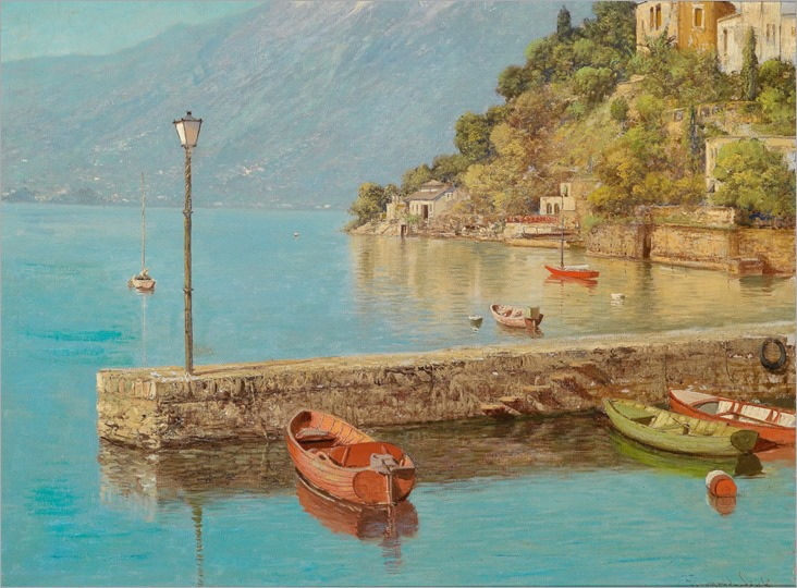 Lake in Northern Italy - Laszlo Neogrady (hungarian painter)