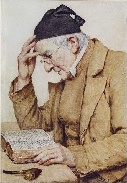 Lesender Mann, 1909-by-Albert-Anker