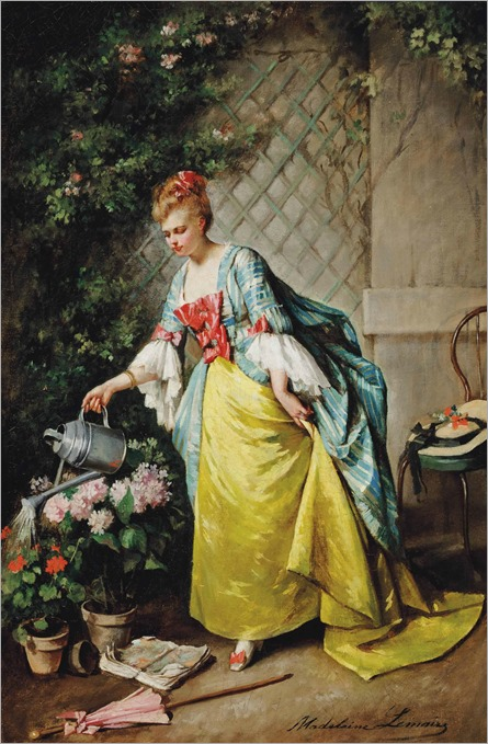 Madeleine Jeanne Lemaire (1845 - 1928) - Watering the flowers