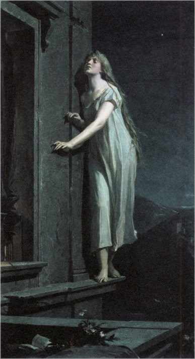 Maximilián Pirner, The Sleepwalker. 1878. O/C 157 x 87 cm. NG Prague. Source: In Morbid Colours.
