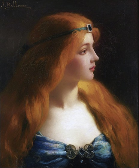Portrait of a woman with auburn hair. Jules-Frédéric Ballavoine (French, 1855-1901)