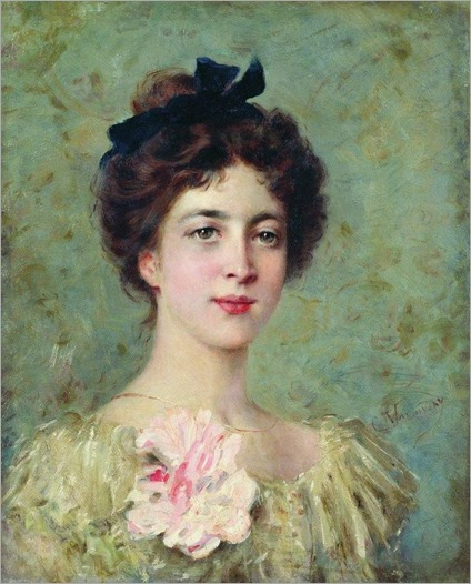 Portrait of a Young Lady with Pink Bow - Konstantin Makovsky (russian painter)