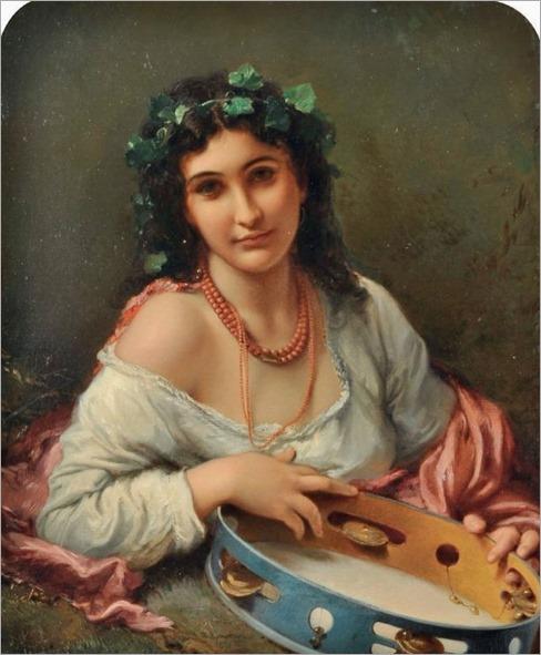 RAGAZZA CON TAMBURELLO, 1871_Roberto Bompiani
