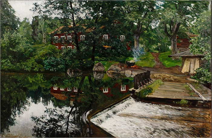 Red House Reflected in a Pond by Olof Arborelius
