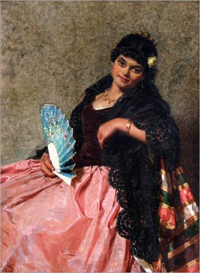 spanish lady holding a fan_Edwin Thomas Roberts - 1878