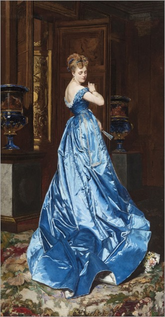 The Blue Dress - Edouard Frederic Wilhelm Richter (german painter)