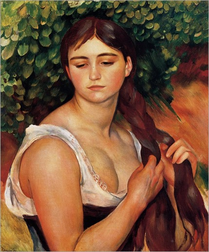 The Braid (Suzanne Valadon) - 1886 - Pierre-Auguste Renoir (french painter)