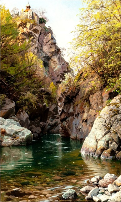 (The Mountain Gorge, Meran), 1913_Peder Mork Monsted
