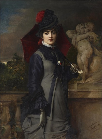Tobias Edward Rosenthal (American, 1848-1917) Portrait of a young woman with a parasol. 1879