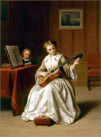 Tuning the guitar. 1863-Basile de Loose