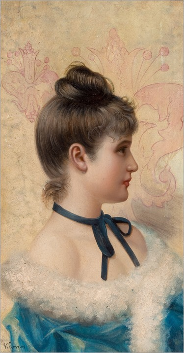 VITTORIO MATTEO CORCOS (Italian, 1859-1933)-profile portrait of a young beauty