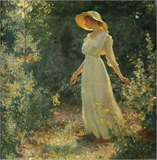 Woman in a white dress in a garden, 1918-Charles Courtney Curran (American, 1861-1942)