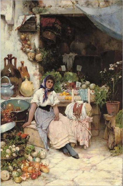 A Venetian Fruit Seller-1889-Oliver Rhys