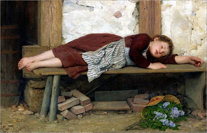 Albert Anker (1831-1910) menina dormindo em um banco de madeira