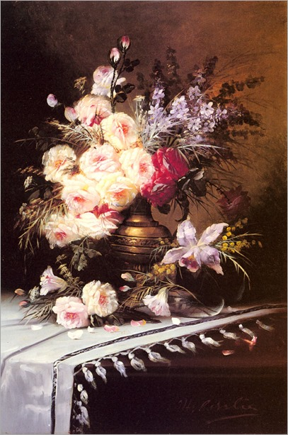 Carlier_Modeste_Still_Life_With_Assorted_Flowers_In_A_Brass_Vase