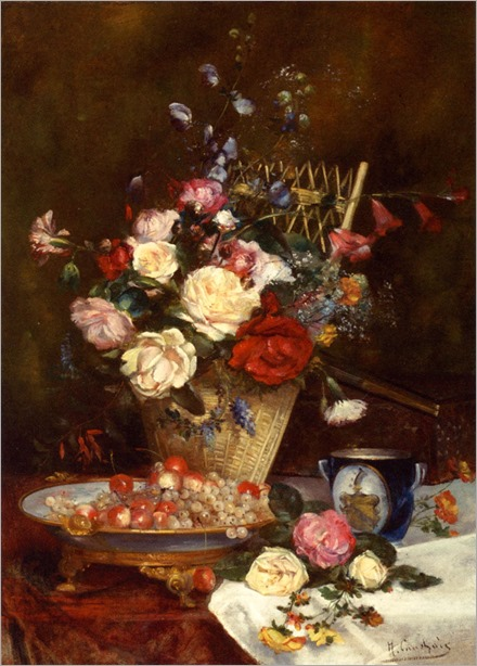 Cauchois_Eugene_Henri_Still_Life_With_Roses_Cherries_And_Grapes