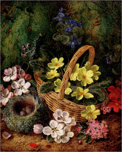 Clare_George_Primroses_Apple_Blossom_And_A_Birds_Nest_On_A_Mossy_Bank
