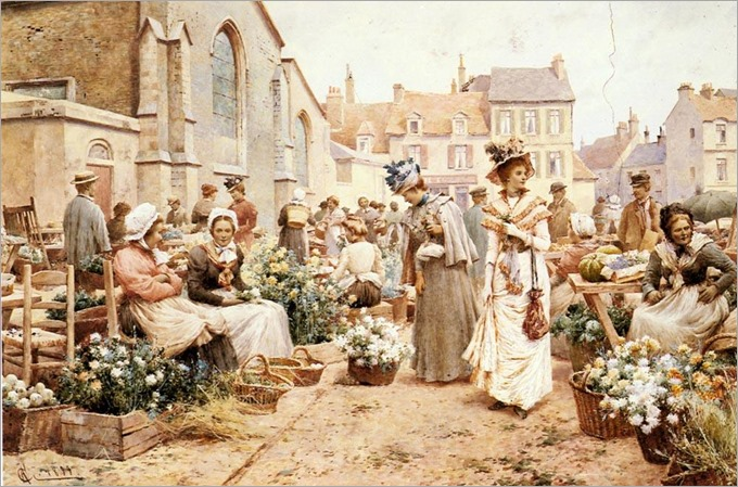 Flower-Market-in-a-French-Town-Alfred Glendening