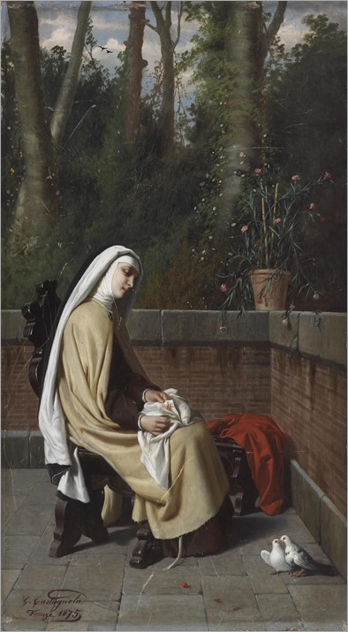 GABRIELE CASTAGNOLA (1828 - 1883) - DAYTIME REVERIE, 1875