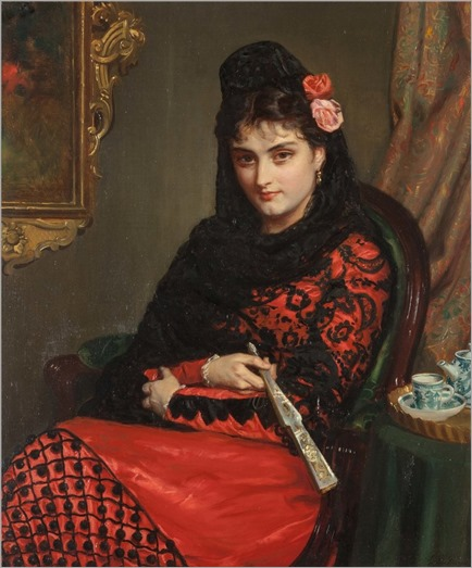 John Bagnold Burgess (1830-1897) Portrait of Spanish Lady in Mantilla with Fan. 1877