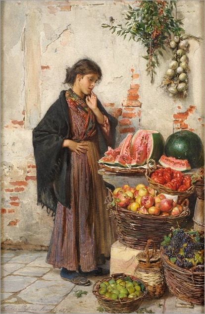 la bella venditora di frutta_Ludwig Johann Passini (Austrian, 1832-1903)