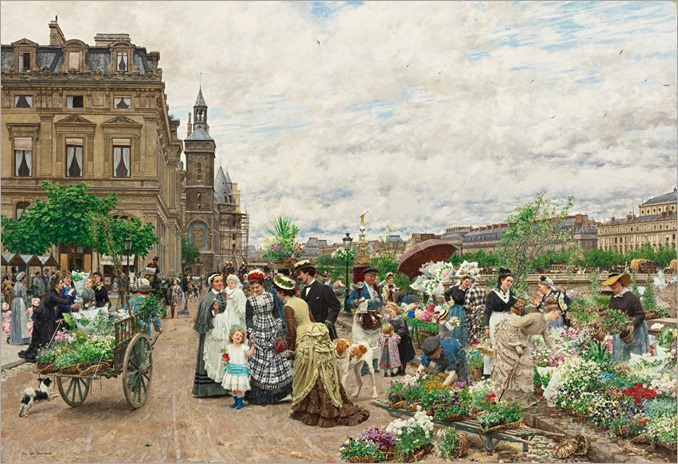 Marie-François Firmin-Girard (french, 1838-1921), Le Quai aux Fleurs, 1875