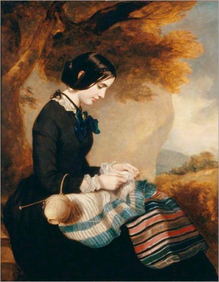 Mary Isabella Grant Knitting a Shawl - Francis Grant (scottish painter)