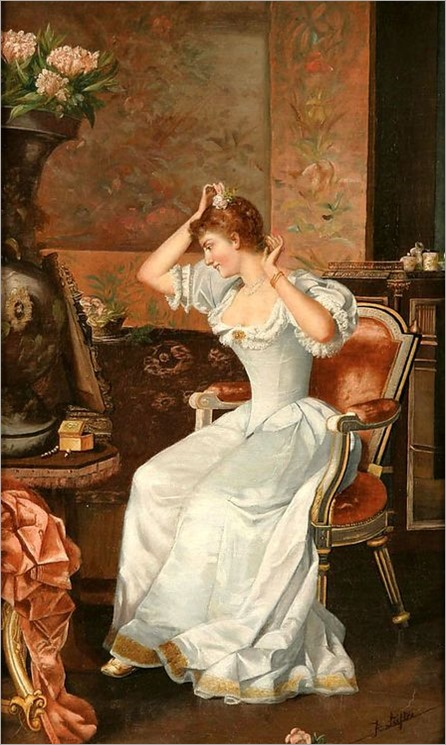 Putting on the Finishing Touches by Moritz Stifter (1857-1905)
