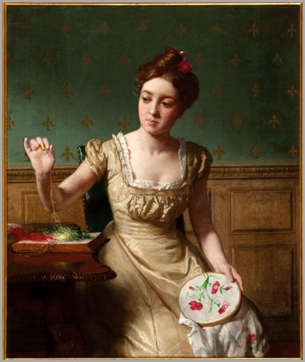 SEYMOUR JOSEPH GUY_woman sewing flower