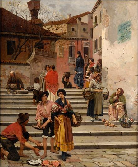 Venezianisches Treiben -1878- Franz Leo Ruben (german painter)
