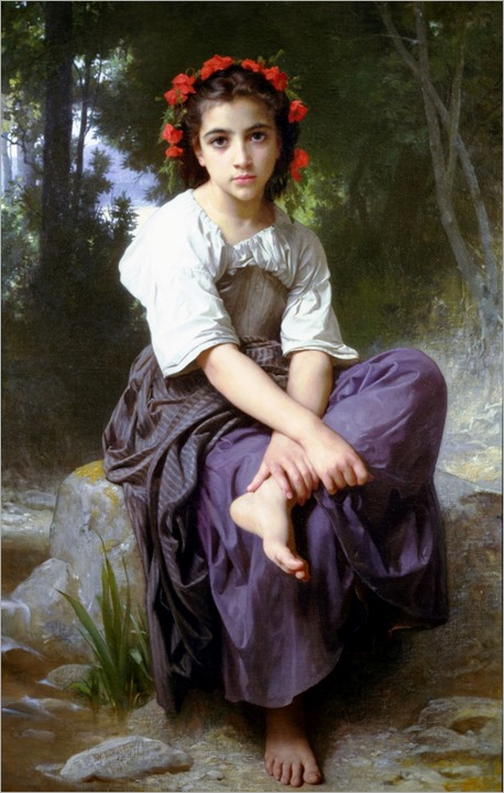 At the Edge of the Brook by William-Adolphe Bouguereau (1825 - 1905)