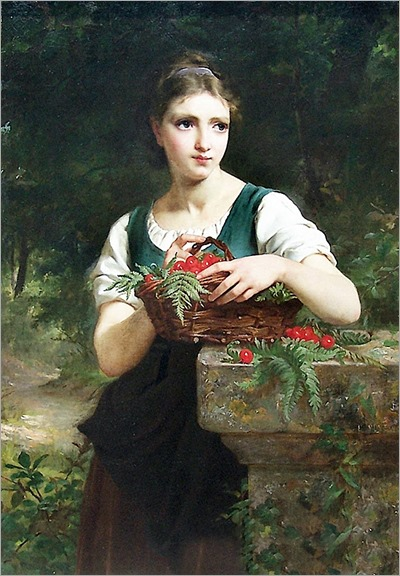 Girl with basket of cherries-1877-Emile Munier (french painter)