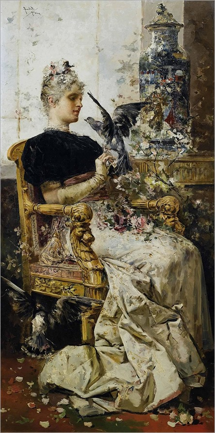 An elegant lady seated in an interior_Salvador Sanches Barbudo (spanish painter)