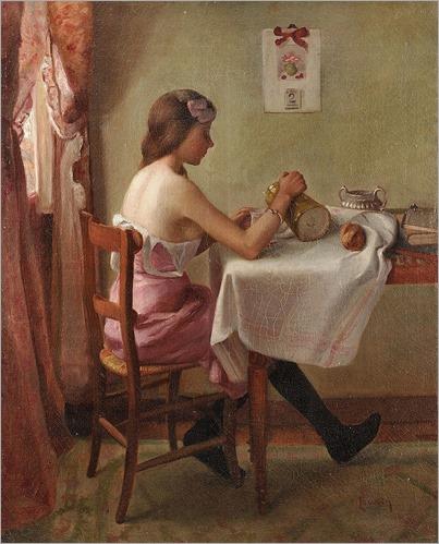 Charles MAURIN (1856-1914) Le petit déjeuner de la jeune servante