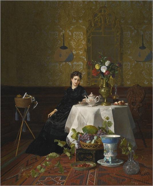 David Emile Joseph de Noter (Belgium,1818-1892) Taking Tea