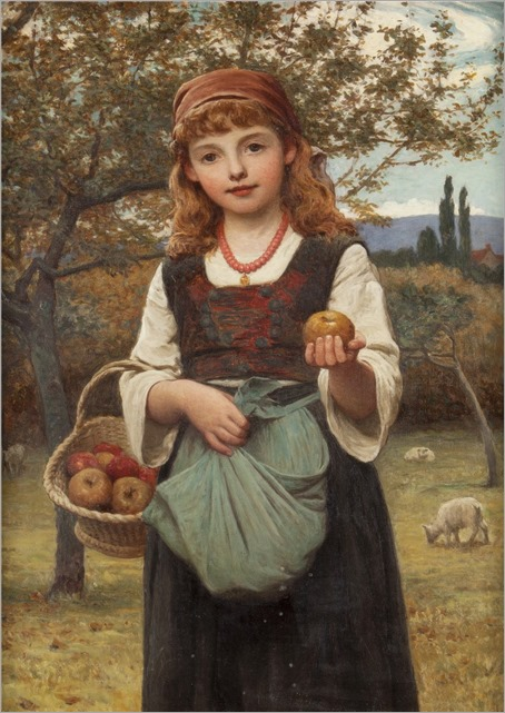 Edwin Bale (1842-1923) Young girl with a basket