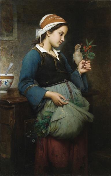 emile-auguste hublin(1830-1891, french) fillete à l´oiseau