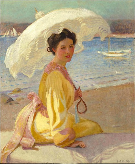 Girl with the Sea Beyond - William MacGregor Paxton (american painter)