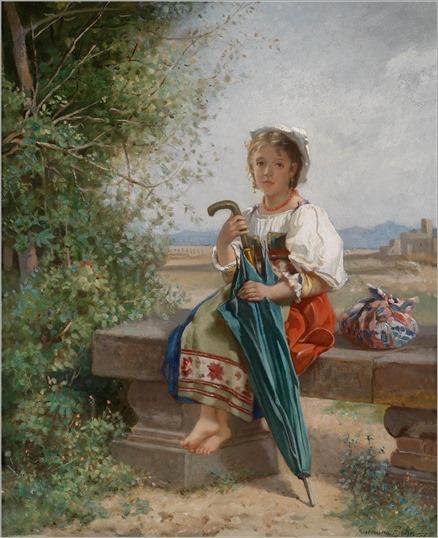 Guermann von Bohn (1812-1899) Romisches Madchen auf der Rast in Campagnalandschaft
