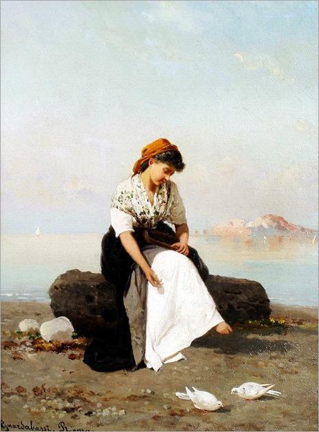 Guerrino Guardabassi (Italian, born 1841) - Girl feeding doves