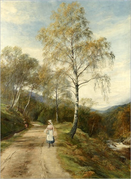 John MacWhirter (British, 1839-1911) A walk by the river