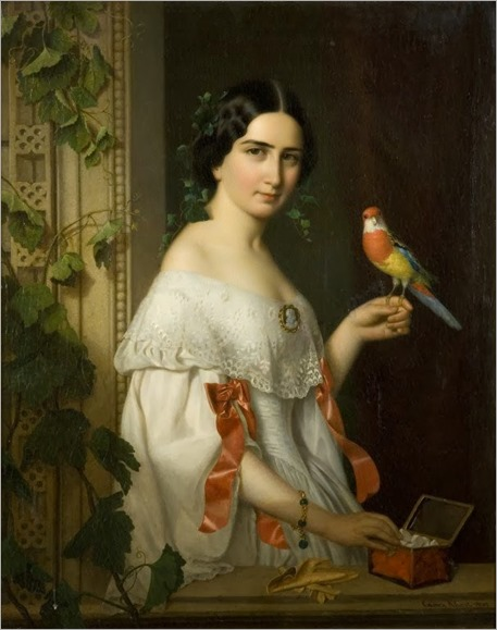 Portrait of a Lady with a Parakeet by Ágost Elek Canzi