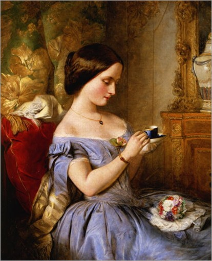 Taking-Tea-in-the-Drawing-Room-Arthur-Hughes