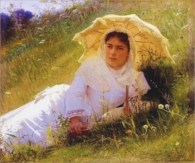 woman with parasol_Ivan Nikolaevich Kramskoy (russian painter) - Date unknown