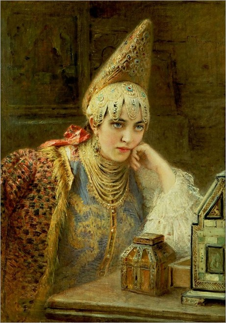 1890 Konstantin Egorovich Makovsky (Russian artist, 1839-1919) The Young Bride